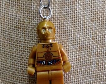 C3-P0 Necklace - (LEGO® Minifigure) - Star Wars, Droids, C3-PO, C3P0, C3PO, Empire Strikes Back, Return of the Jedi, The Force Awakens