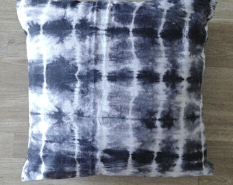 Hand dyed cushion, Shibori pillow, grey and white cushion, hand dyed pillow, grey pillow, shibori cushion, 20 x 20 inch pillow cover