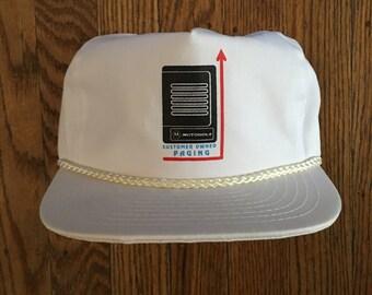 Vintage 90s New Deadstock Motorola Pager Strapback Hat Baseball Cap