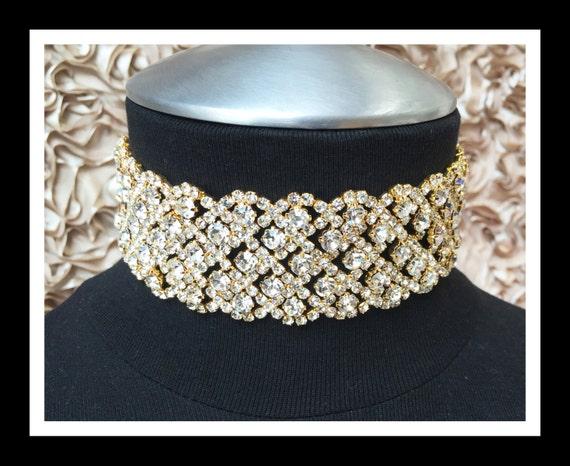 Gold Diamond Rhinestone Choker #C105