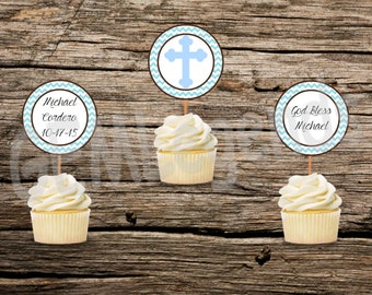 Boy Baptism Cupcake Toppers, Baptism Cupcake Toppers,