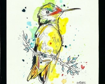 Bird 2 *Original Ink and Watercolor Painting*