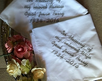 In memory of funeral handkerchief with a straight edge available in black or white