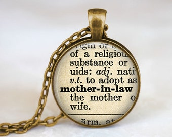 Mother In Law Necklace • Mother In Law Gift • Mother In Law Definition • Dictionary Quote Jewelry