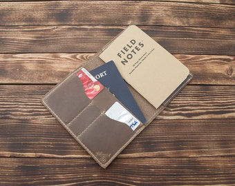 Natural Horween Chromexcel traveler leather field notes wallet