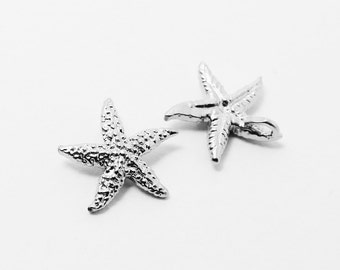P0378/Anti-Tarnished Matte Rhodium Plating Over Brass/StarFish Pendant/12mm/2pcs