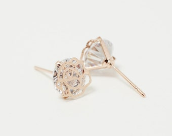 E0068/Anti-tarnished Rose Gold Plating Over Brass+Cubic Zirconia/Rose Cubic Zironia Earrings/8mm/2pcs