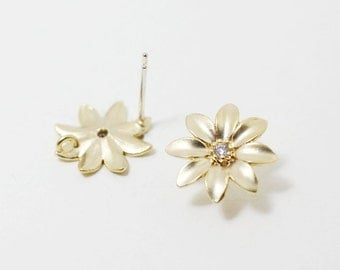 E0087/Anti-Tarnished Matte Gold Plating Over Brass+Cubic Zirconia+Sterling Silver Post/Flower Earrings/13mm/1 Pair