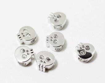 P0152/Anti-Tarnished Rhodium Plating Over Brass/Skull Bead Connector /6 x6mm/4pcs