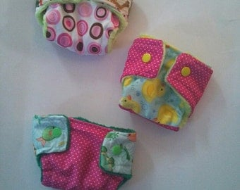 Doll diapers, baby alive, set of three, cloth diapers, baby doll diapers, made on order