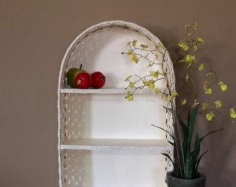 Vintage Rattan Two Tier Wall Shelf / Vintage Wicker Shelf / Bathroom Wall Shelf