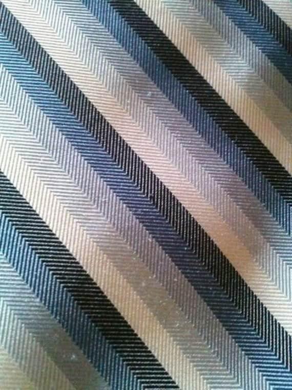 Blue Herringbone Tie Silk 100% Silk Fabric by the Yard or