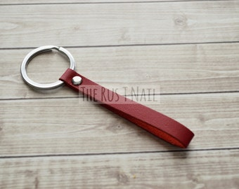Red Skinny Minimalist Leather Keychain - Silver Accented Leather Key Chain - Minimalist Leather Keychain