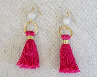 Pink tassle earrings, tassle earrings, gold tassel earrings, statement earrings