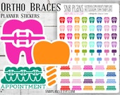 Orthodontic Braces Appointment Trackers // Colorful // Planner Stickers