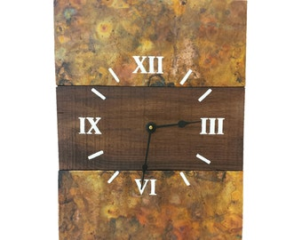 Copper (Rainbow Patina) and Reclaimed Wood Handcrafted Wall Clock
