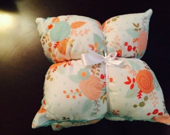 Mint/ coral/ gold flowers crib pillows
