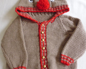 Hand knitted child christmas jumper. 3-4 years. Reindeer cardigan.