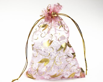 10pcs Pink Organza Bags, 4.5 x 6.5 Inches Organza Bags, Gift Bags, Wedding Favors, Jewelry Pouches, Beading Supplies, Jewelry Supplies