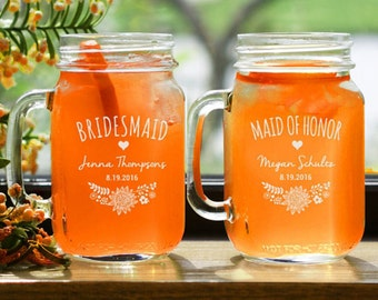 16 Mason Jar Wedding Mugs, Wedding Party Engraved, Personalized Mugs With Handle, Bridal Party Gifts, Mason Jar Wedding Centerpieces