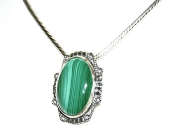 Malachite Necklace Gemstone Sterling Silver