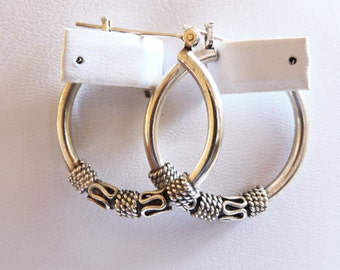 Sterling Silver Medium Hoop B Earrings