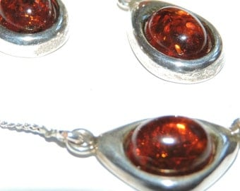 Amber Sterling Silver Necklace and Earrings set
