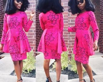 African ankara women pink With black fitted knee length peplum long sleeve dress.