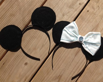 Simple Plain Black Mickey and Minnie Mouse Inspired Headband Ear Set Disney Couples Halloween Costume