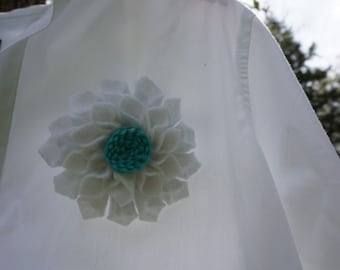 White and Turquoise Felt Flower Brooch