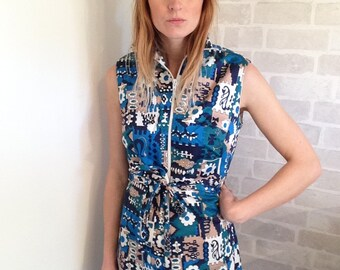 Sixties Blue Abstract/ Zip Dress