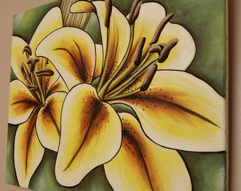 Original Canvas Painting Acrylic 16x20 - Yellow Lily - yellow lillies - tiger lily - tiger lillies - with black frame option!