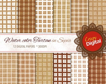 Tartan Plaid in Sepia Water Colors Digital Papers 12pcs 300dpi Digital Download Scrapbooking Printable Paper