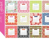 2016 Monthly Desk Calendar | Printable Instant Download Digital File | 12 months for the Price of 12 | DIY | 5 X 5 | Multi Designs