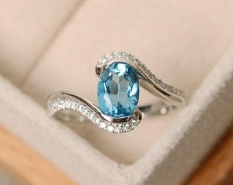 Swiss blue topaz ring, oval gemstone ring, blue gemstone ring, blue topaz ring