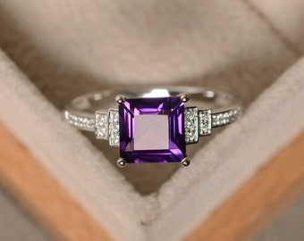 February birthstone ring, amethyst ring, square amethyst, gemstone ring amethyst, engagement ring