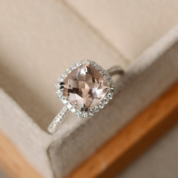morganite engagement ring cushion cut pink morganite. Black Bedroom Furniture Sets. Home Design Ideas