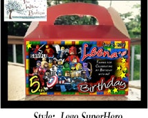 Pk 4 LEGO SUPERHERO BIRTHDAY Goody Box Loot Favors Personalized with your childs name etc.