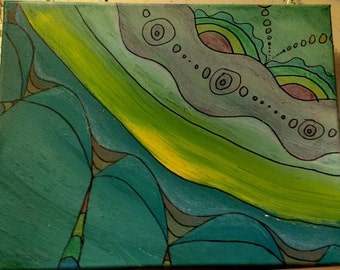 Triply rainbow oil and crayon original painting