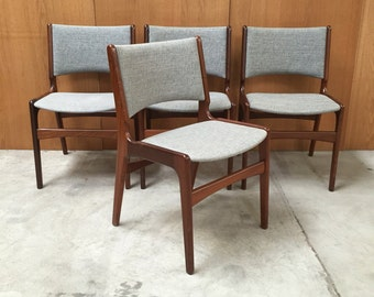 Set of 4 Mid-Century Danish Modern Teak Dining Chairs Designed by Henning Kjærnulf