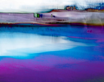 Modern Wall Art, WINTER POND #3, fine art photograph, abstract landscape, modern art, purple, blue, gray print, signed, wall decor, serene