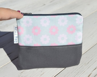 Mini toiletry bag, cosmetic case, floral canvas coin purse, birthday present, birdesmaid gift, zippered mini bag, valentine's day gift