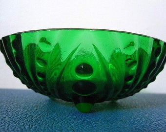 Vintage 50s Emerald Green Glass Art Deco Bowl