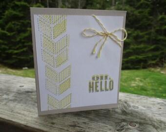 OH Hello-- gray & yellow card