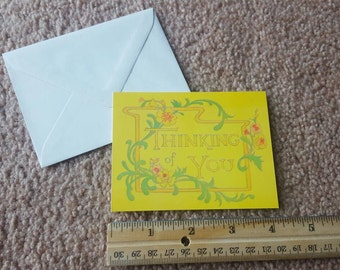 Vintage Small 'Thinking of You' Greeting Card by Famous Artists Studios Inc. Blank Inside