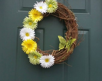 Grapevine spring wreath , summer wreath