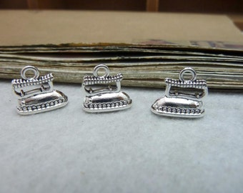 BULK 30 Clothes Iron Charms Antique Silver Tone 2 Sided
