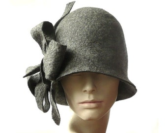 Felt Hat felted hat Cloche Hat felt hats Flapper 1920 Hat Art Gray Hat Cloche Victorian 1920's hat Wool Women's hat