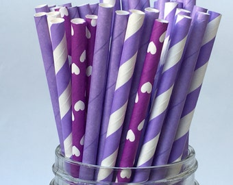Purple Rain, Assorted Paper Straws, Paper Straws, Purple Paper Straws, Party Decorations, Purple Theme, Birthday Party, Party Buffet,  25