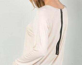 T2226 Long Sleeve Back Zipper High-low Top Shirt